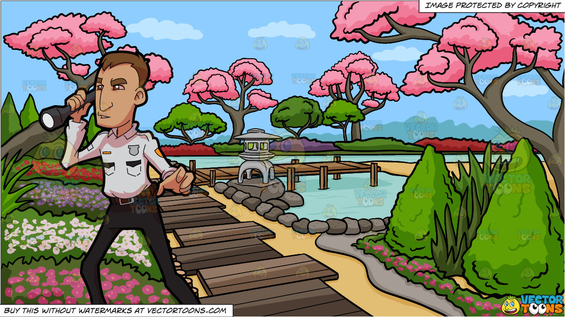 A Security Guard Checking The Premises And A Japanese Garden Background