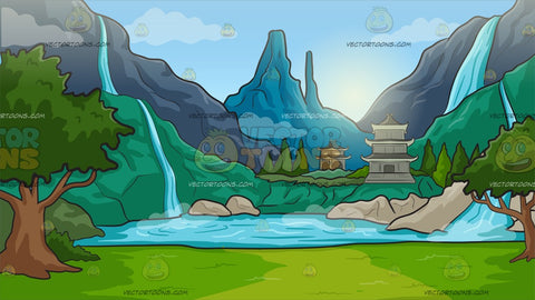 A Serene Mystical Landscape With Temples Background