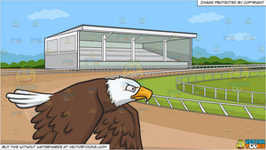 A serious and focused bald eagle and A Horse Racing Track Background