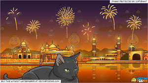 A Serious Black Cat Sitting Still and Fireworks Display Celebrating Diwali Background