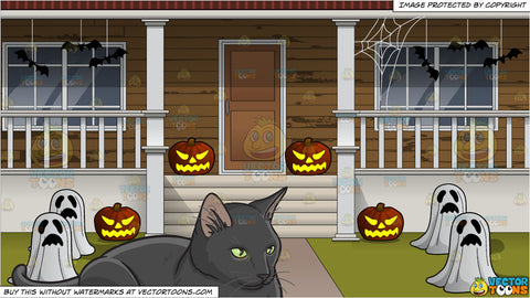 A Serious Black Cat Sitting Still and The Outside Of A House Decorated For Halloween Background