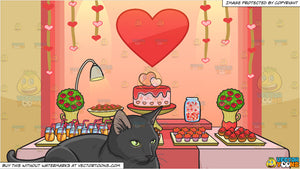 A Serious Black Cat Sitting Still and Valentines Day Buffet Background