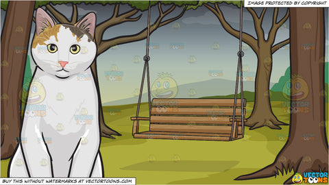 A Serious Looking Cat and A Swing On A Gloomy Day Background