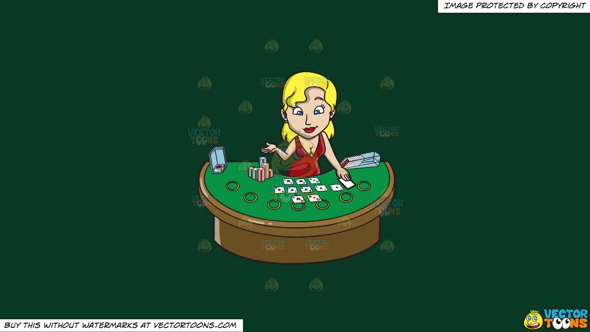 Cartoon clipart: a sexy female casino blackjack dealer on a solid dark  green 093824 background