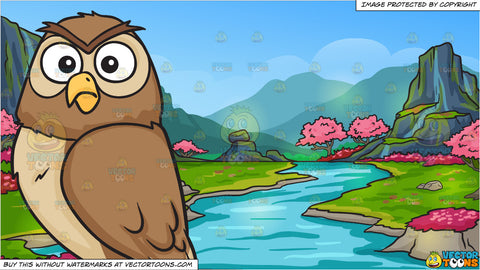 A shocked night owl and A Beautiful Cherry Blossoms Valley Background