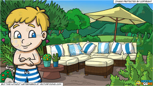 A Shy Boy Gets Ready For Swimming and A Garden Patio Background