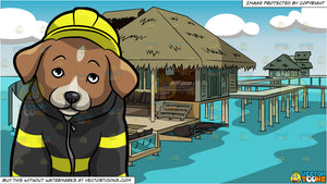 A Shy Fire Safety Puppy and Luxury Hotel Room On Stilts Background