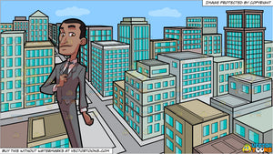 A Sleek Black Businessman and A View Of The City From A Top Of A Building During The Day Background