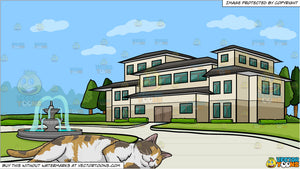 A Sleeping Calico Cat and A Mansion With A Round Driveway Background