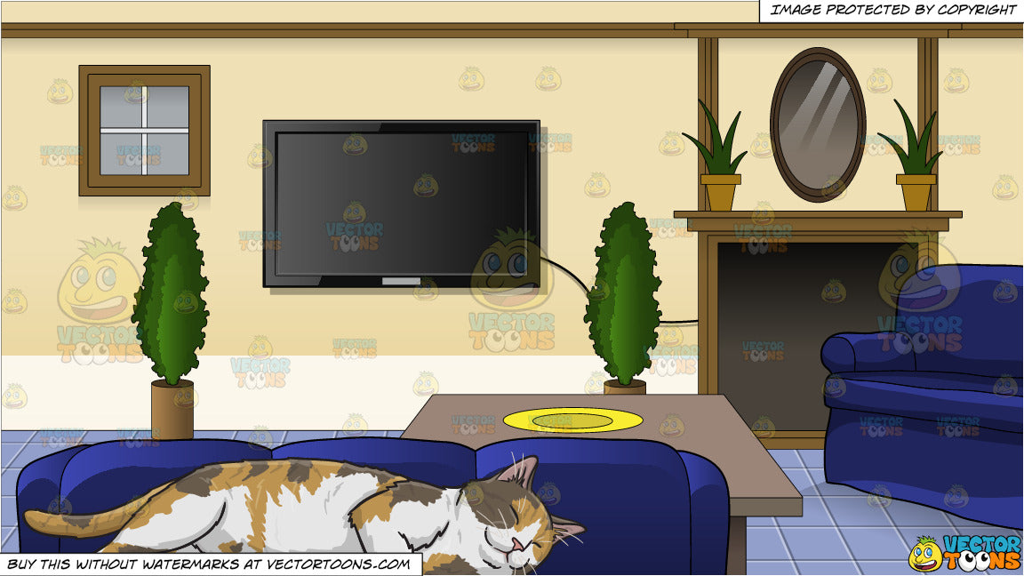 A Sleeping Calico Cat and Inside A Family Room Background