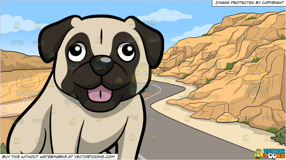 A Small Friendly Pug Dog Sticking Its Tongue Out and A Canyon Road Background