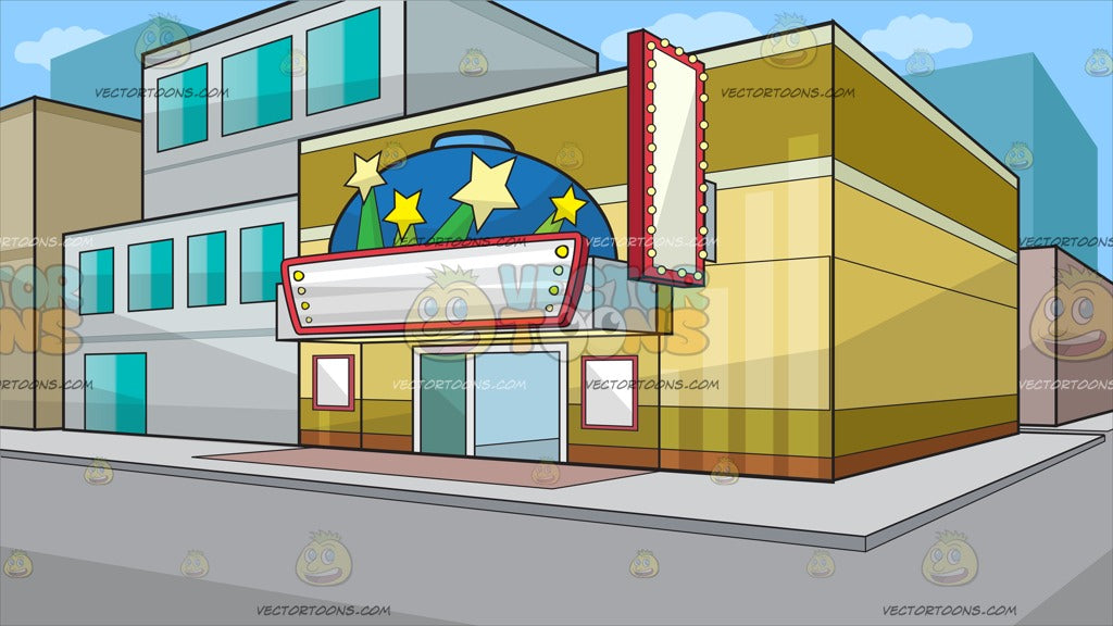 A Small Town Movie Theater Background Clipart Cartoons By Vectortoons