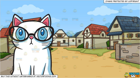 A Smart Cat and A Small Medieval Village Background