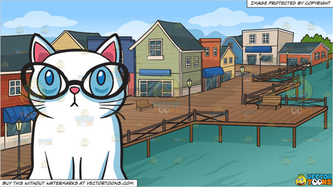 A Smart Cat and A Village Pier Background