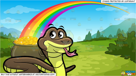 A Snake Slithering Around and Pot Of Gold At The End Of The Rainbow Background