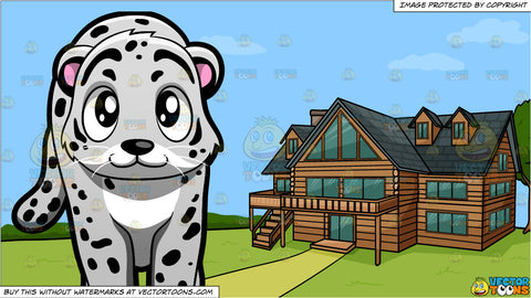 A Snow Leopard and A Countryside Log House Background