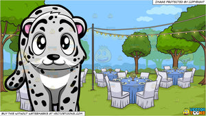 A Snow Leopard and An Outdoor Wedding Reception Background