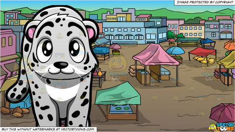 A Snow Leopard and View Of An Outdoor Rural Market Background