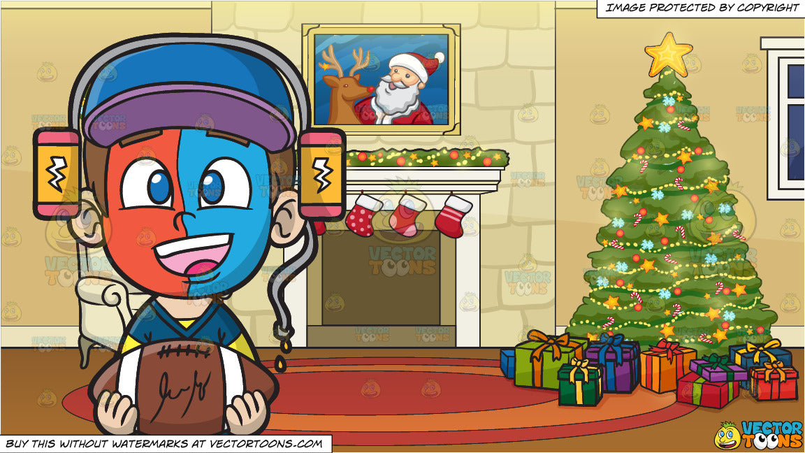 Christmas Sports Background.A Sports Fan Boy In Awe And A Fireplace Beside A Christmas Tree Background