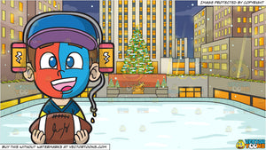 Christmas Sports Background.A Sports Fan Boy In Awe And Rockefeller Center At Christmas Background