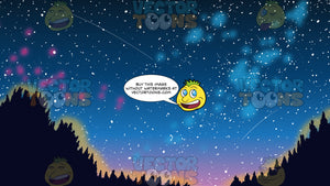 A Starry Night Sky Background. A view of the stars in the sky at night, with some shooting stars streaking across the sky and trees in the foreground
