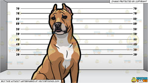 A Strong American Staffordshire Terrier Pet Dog and A Prison Line Up  Background