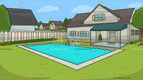 A Suburban House With Swimming Pool Background