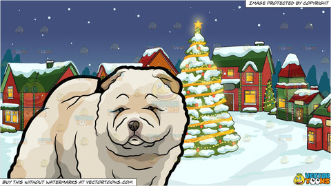 A Super Adorable And Huggable Chow Chow Dog and Santas Village Background