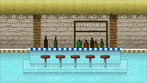 A Swim Up Bar In A Pool Background
