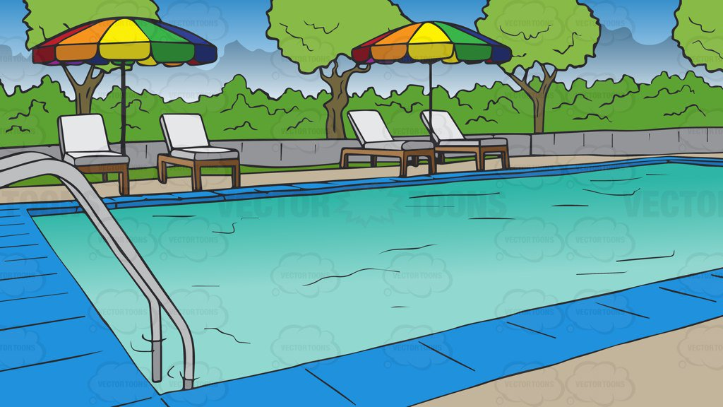 A Swimming Pool At A Hotel Background – Clipart Cartoons ...