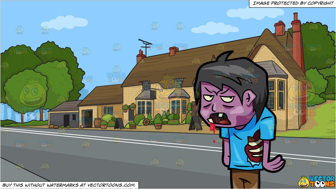 A Teenage Zombie Drooling With Blood and A Countryside Pub Background