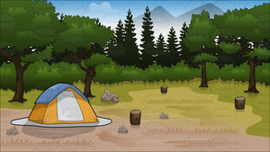 A Tent Set Up In A Forested Park Background