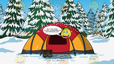 A Tent Set Up In The Snow Background. A red and orange domed tent set up in the snow, with snow covered trees in the background and a pair of hiking boots sitting outside the tent door