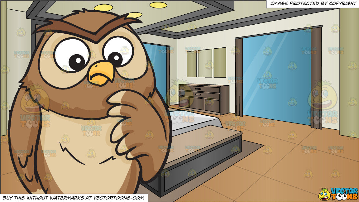 A thinking owl and A Modern Bedroom Background
