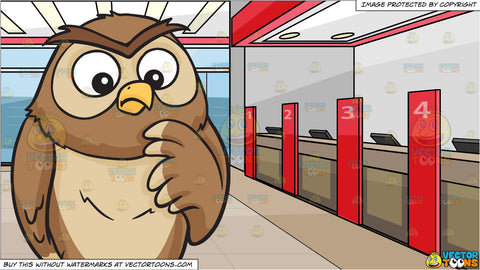 A thinking owl and Inside A Local Bank Background