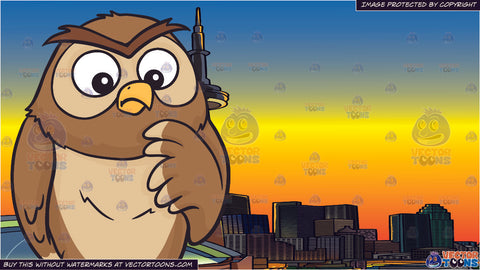 A thinking owl and The Toronto Skyline At Sunset Background