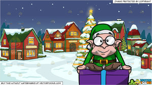 Tiny Christmas.A Tiny Christmas Elf Sitting On Top Of A Present And Santas Village Background
