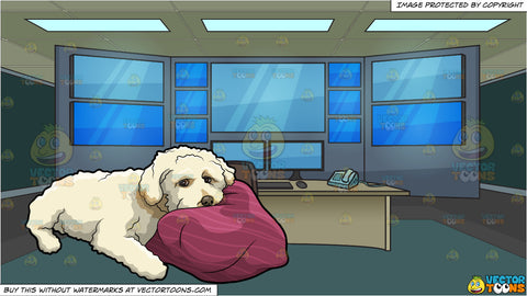 A Tired Fluffy Puppy and 911 Call Dispatch Room Background