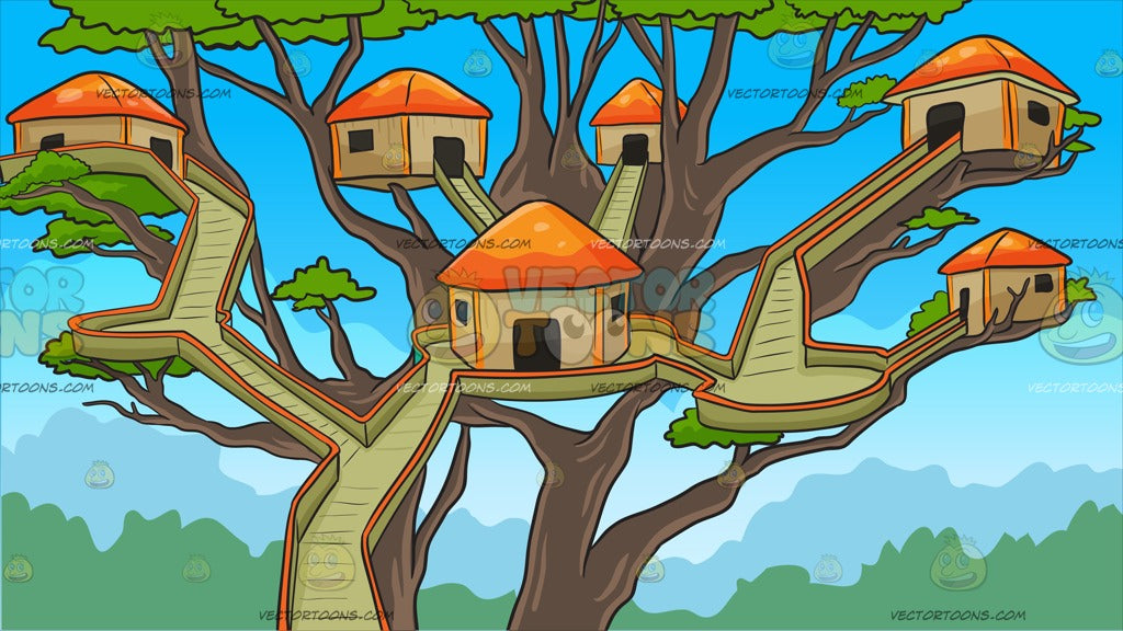 A Tree House Village Background Clipart Cartoons By Vectortoons Cartoon tree house abstract art background. a tree house village background clipart cartoons by vectortoons