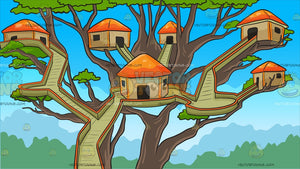 A Tree House Village Background