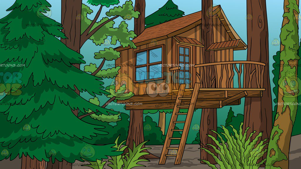 A Treehouse In The Woods Background
