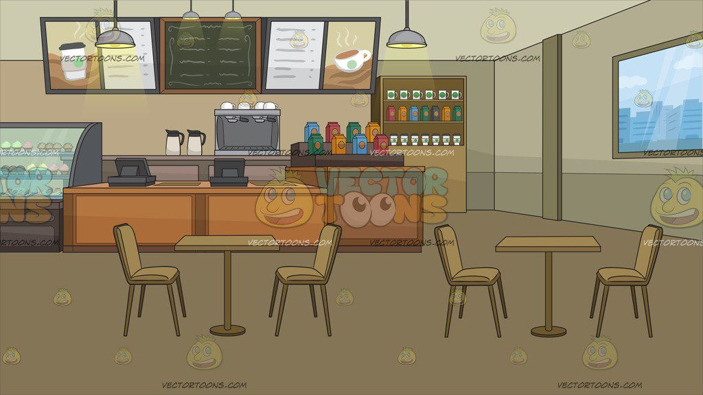 A Trendy Coffee Shop Background Clipart Cartoons By