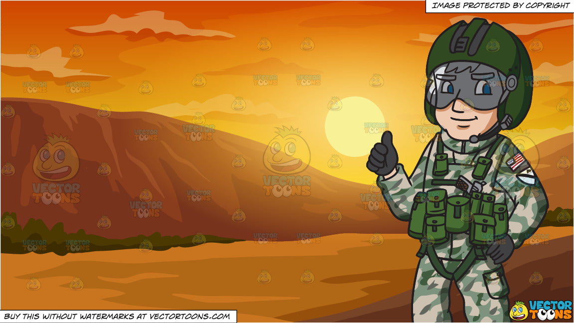 A Us Army Helicopter Pilot Giving The Thumbs Up Sign and Sunset In The  Canyons Background