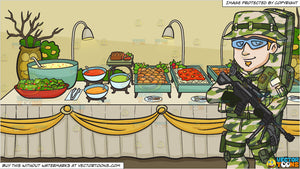 A Us Army Sniper and A Savory Food Buffet Table Background