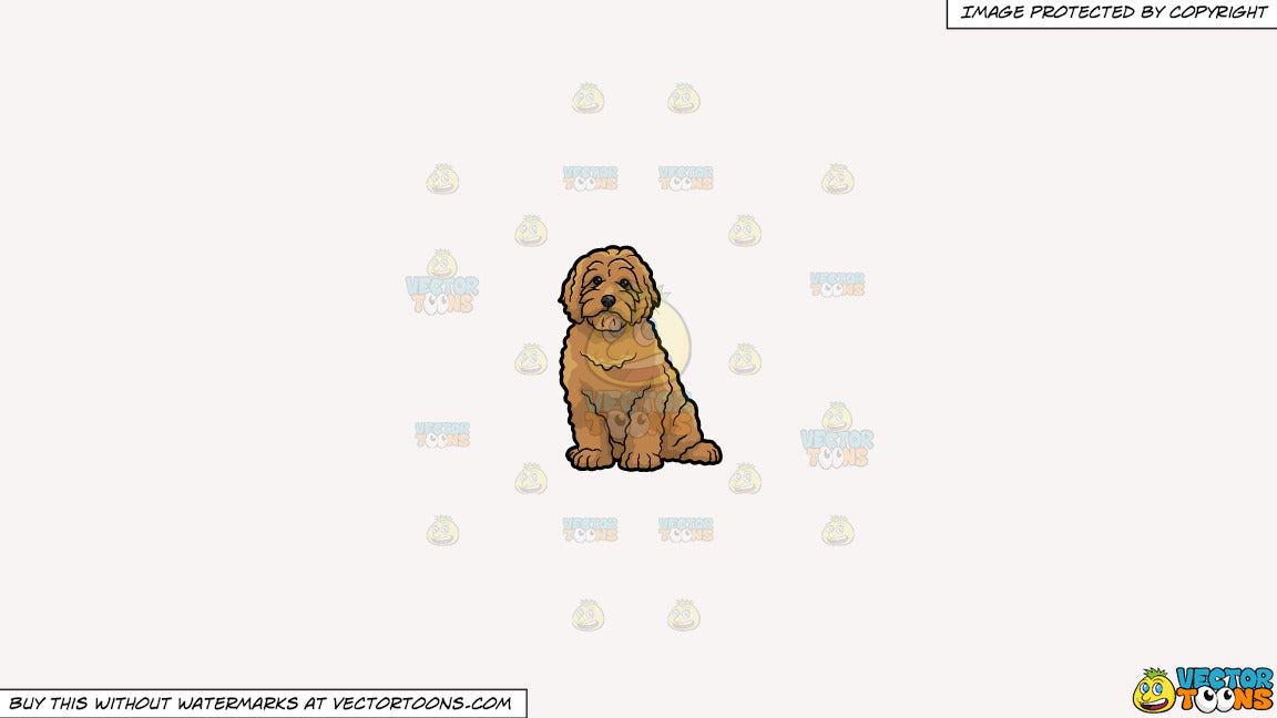 Clipart: A Very Cute Golden Doodle Dog on a Solid White Smoke F7F4F3  Background