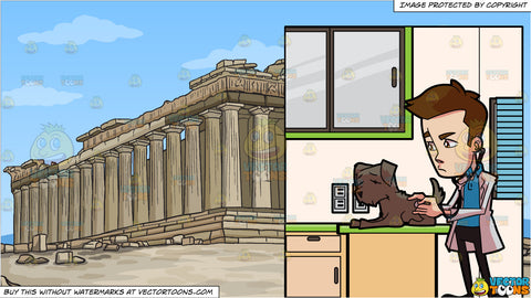 A Veterinarian Checking On A Sick Dog and The Parthenon Background