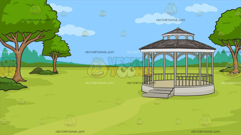 A Victorian Park With Gazebo Background