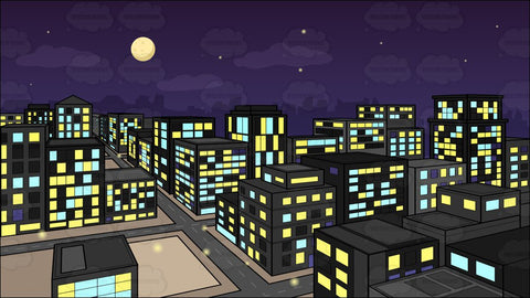 A View Of The City From A Top Of A Building At Night Background