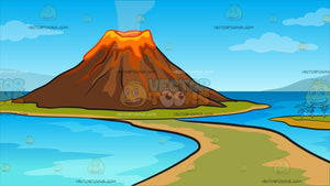 A Volcano Island Background