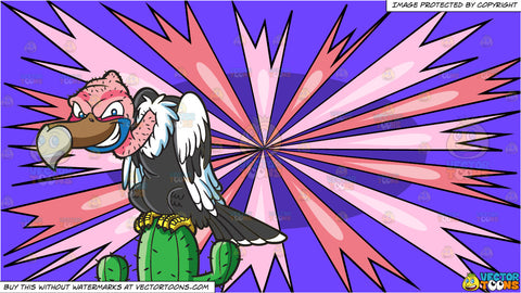 A Vulture On Top Of A Cactus and A Psychedelic Sash Blast Background
